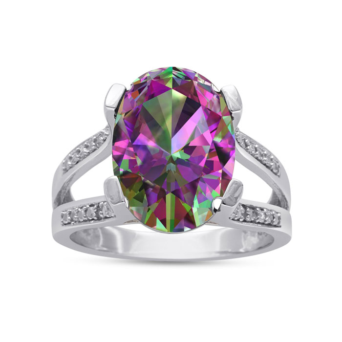5 1/2 Carat Oval Shape Mystic Topaz & Diamond Ring Crafted in Sol