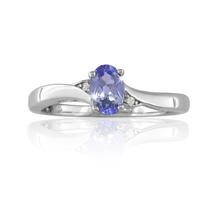 3/8 Carat Oval Shape Tanzanite & Diamond Ring Crafted in Solid Sterling Silv..