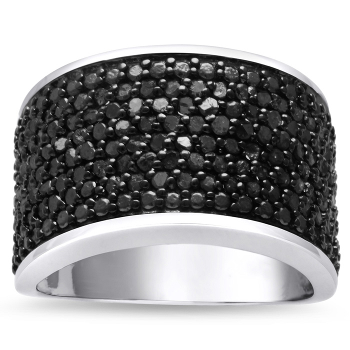 1 Carat Black Diamond 8 Row Ring Crafted in Solid Sterling Silver, Size 5 by SuperJeweler