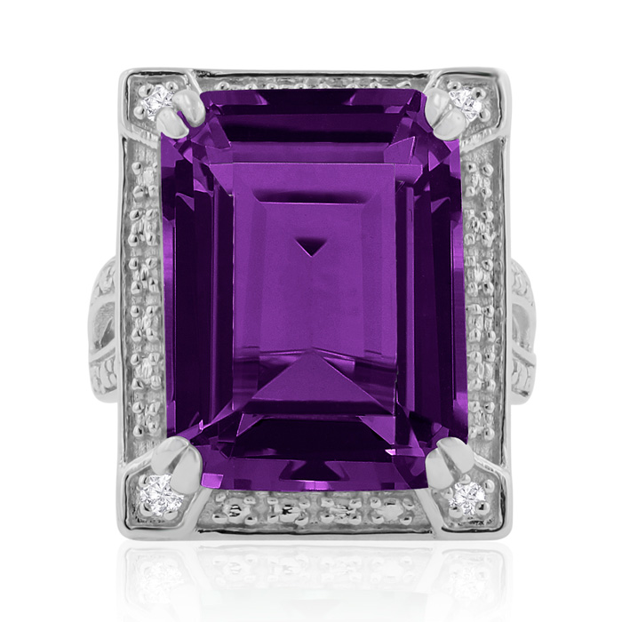 11 Carat Emerald Cut Amethyst & Diamond Ring Crafted in Solid Sterling Silver, I/J by SuperJeweler