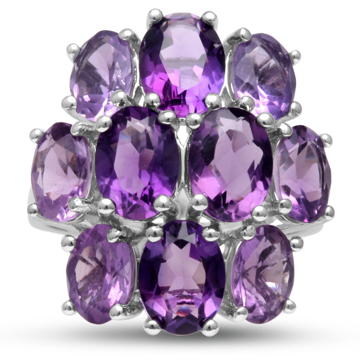 14 Carat Amethyst Cluster Ring, Ombre Style, Crafted in Solid Ste