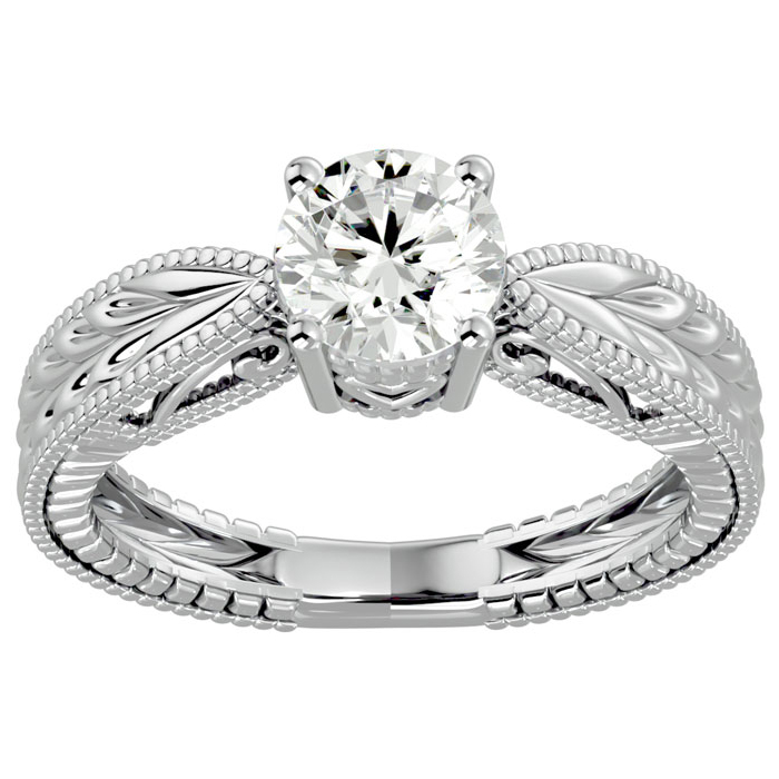 1 Carat Solitaire Diamond Engagement Ring w/ Tapered Etched Band in 14K White Gold (I-J, I1-I2 Clarity Enhanced) by SuperJeweler