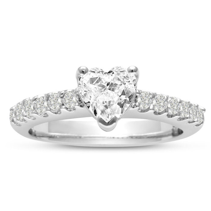 1 1/3 Carat Heart Shape Diamond Engagement Ring Crafted in 14K Wh