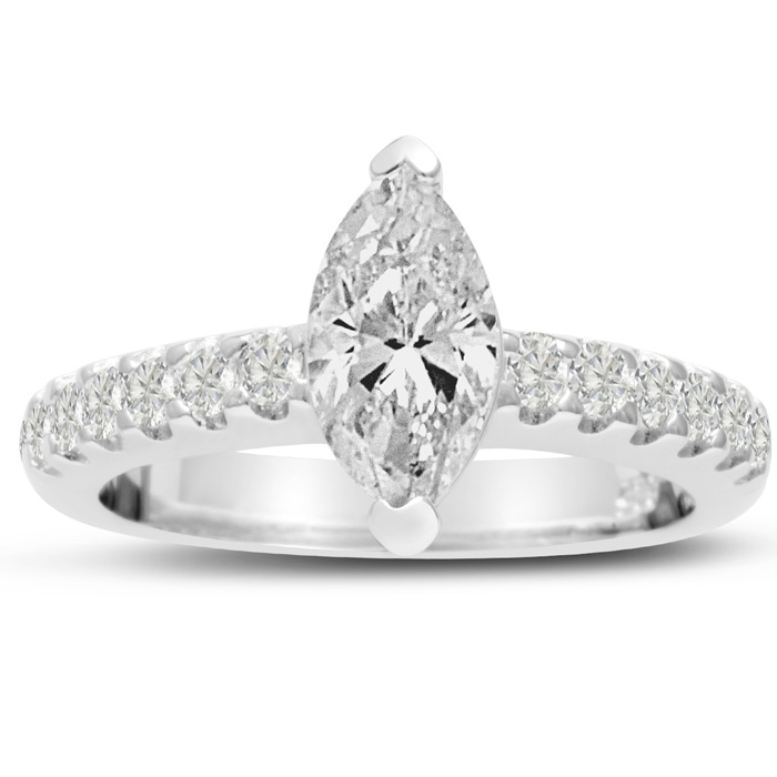 1 1/3 Carat Marquise Shape Diamond Engagement Ring in 14K White Gold (6.1 g) (I-J, I1-I2 Clarity Enhanced) by SuperJeweler