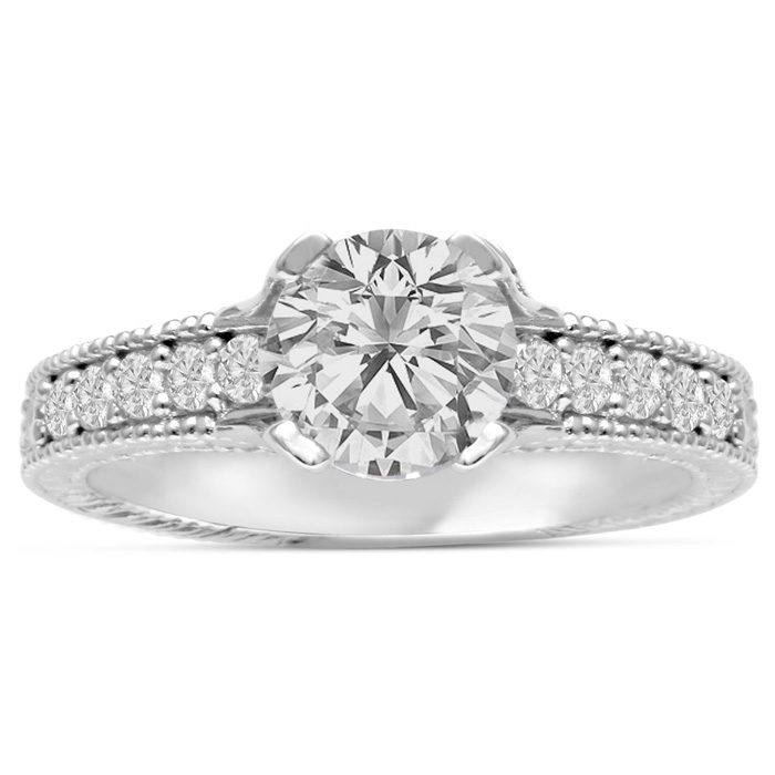 1 2/3 Carat Round Diamond Engagement Ring in 14K White Gold (6.2 g) (I-J, I1-I2 Clarity Enhanced) by SuperJeweler