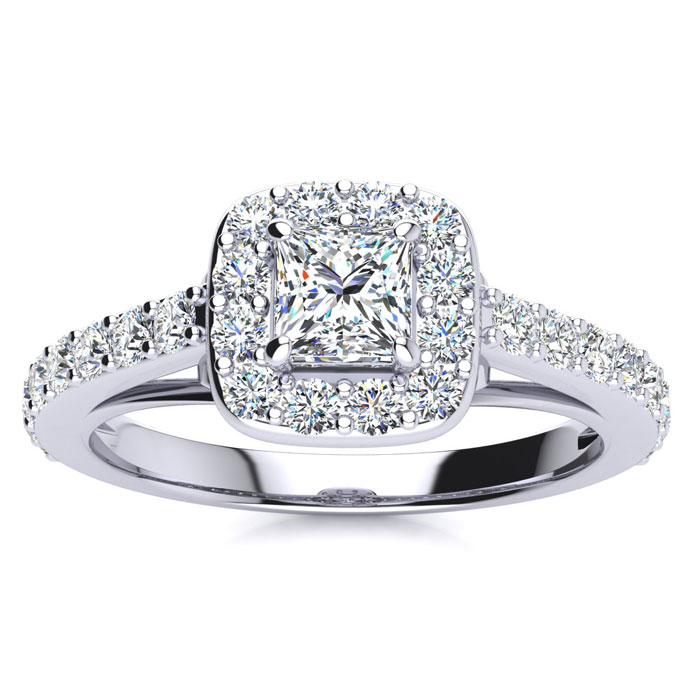 2 Carat Halo Diamond Engagement Ring in 14K White Gold (5.9 g) (I