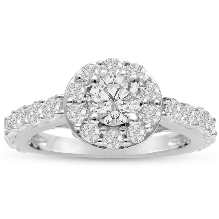 1.5 Carat Halo Diamond Engagement Ring in 14K White Gold (5.4 g) (I-J, I1-I2 Clarity Enhanced) by SuperJeweler