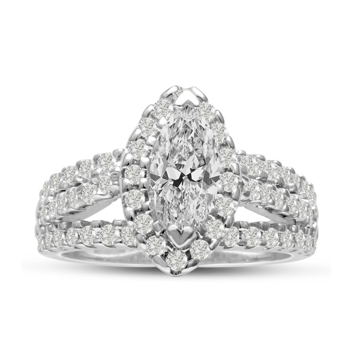 1 2/3 Carat Marquise Halo Diamond Engagement Ring in 14K White Go