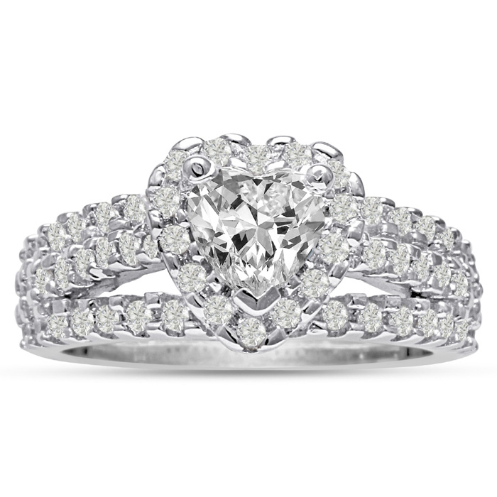 1 2/3 Carat Heart Halo Diamond Engagement Ring in 14K White Gold
