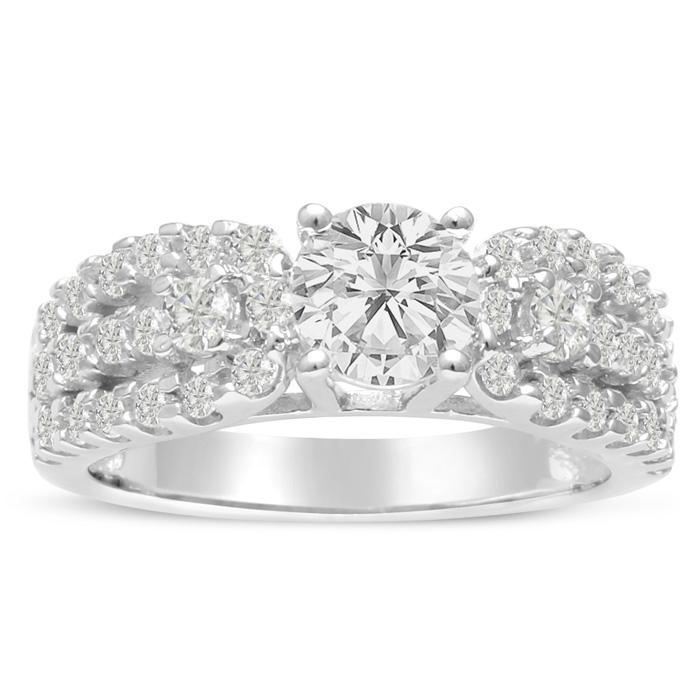 1 1/5 Carat Round Brilliant Diamond Engagement Ring in 14K White Gold (6.4 g) (I-J, I1-I2 Clarity Enhanced) by SuperJeweler
