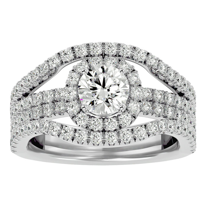 2 Carat Halo Diamond Engagement Ring in 14K White Gold (8.3 g) (H-I, SI2-I1) by SuperJeweler