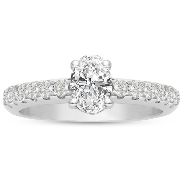 1 1/3 Carat Oval Shape Diamond Engagement Ring Crafted in 14K Whi