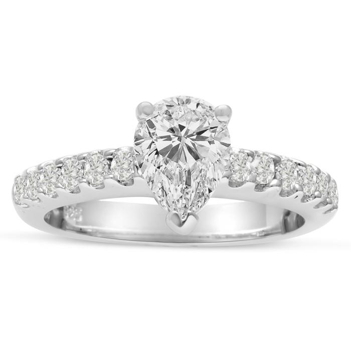 1 1/3 Carat Pear Shape Diamond Engagement Ring in 14K White Gold