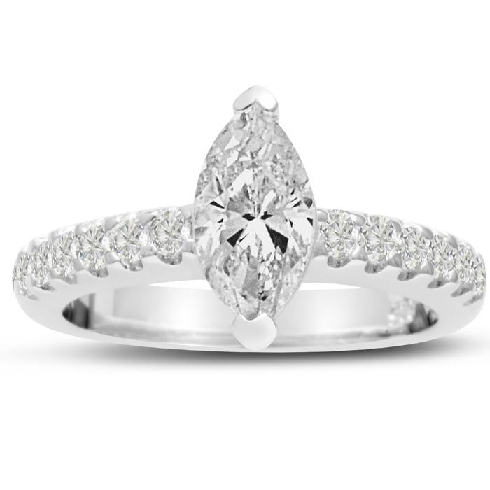 1 1/3 Carat Marquise Shape Diamond Engagement Ring in 14K White G