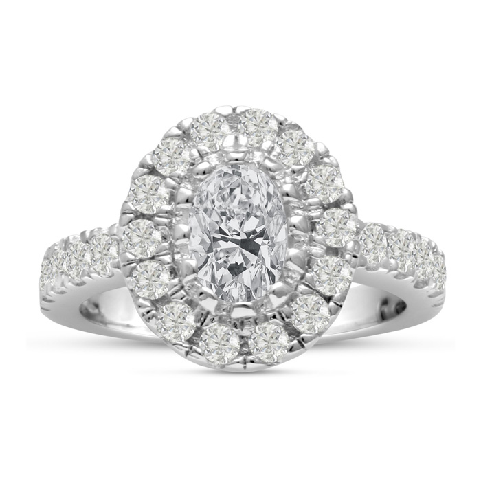 1.5 Carat Oval Shape Diamond Engagement Ring in 14K White Gold (6.9 g) (H-I, SI2-I1) by SuperJeweler