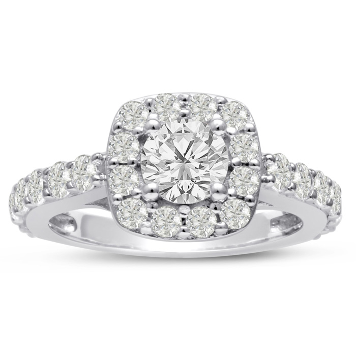 1 3/4 Carat Halo Diamond Engagement Ring Crafted in 14K White Gol