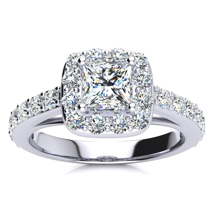 2 Carat Princess Cut Halo Diamond Engagement Ring Crafted in 14K White Gold (5.9 g), H/I by SuperJeweler