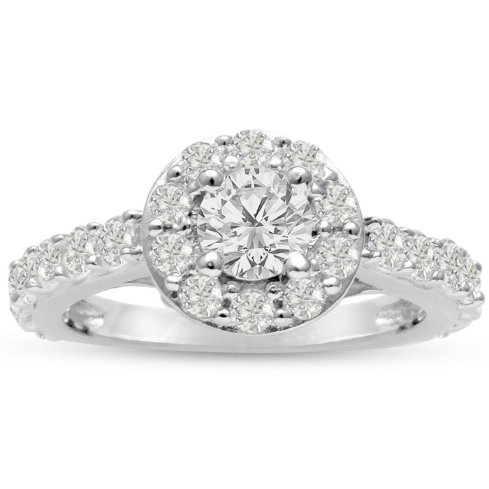 1.5 Carat Halo Diamond Engagement Ring in 14K White Gold (5.4 g) (, SI2-I1) by SuperJeweler