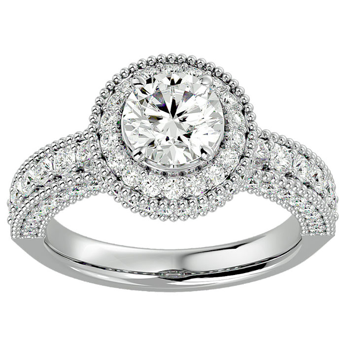2 Carat Halo Diamond Engagement Ring in 14K White Gold (6.5 g) (H-I, SI2-I1) by SuperJeweler