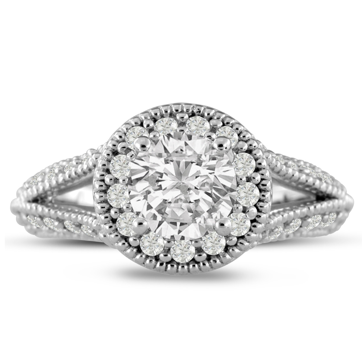1 3/4 Carat Split Shank Halo Diamond Engagement Ring in 14K White