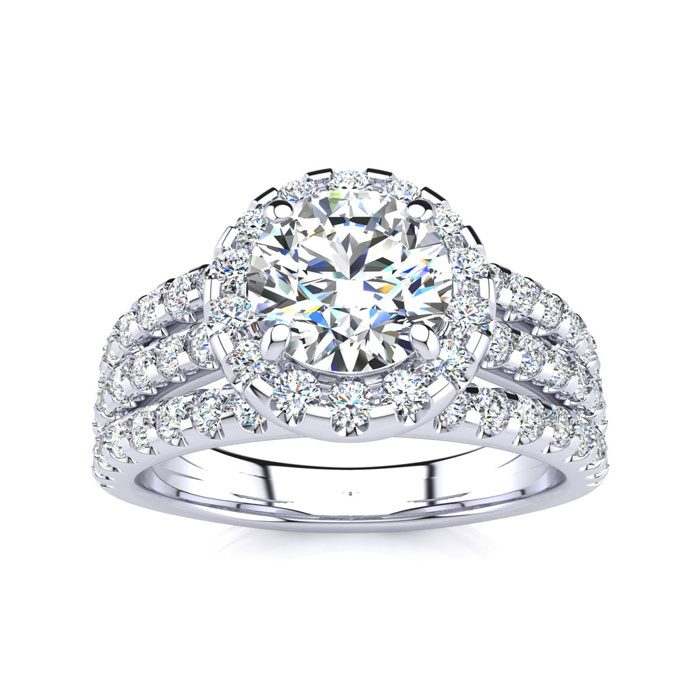 1 2/3ct Halo Diamond Engagement Ring Crafted in 14 Karat White Gold