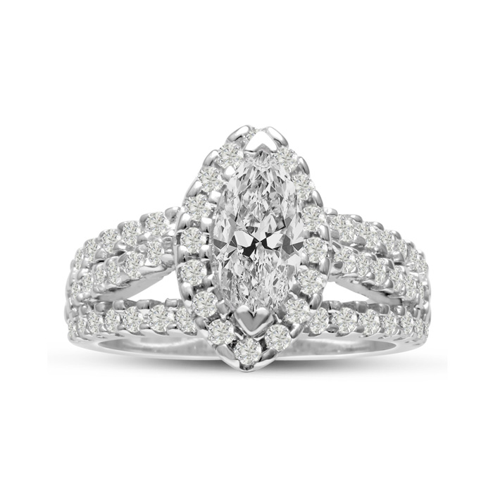 1 2/3 Carat Marquise Halo Diamond Engagement Ring in 14K White Gold (7.8 g) (H-I, SI2-I1) by SuperJeweler