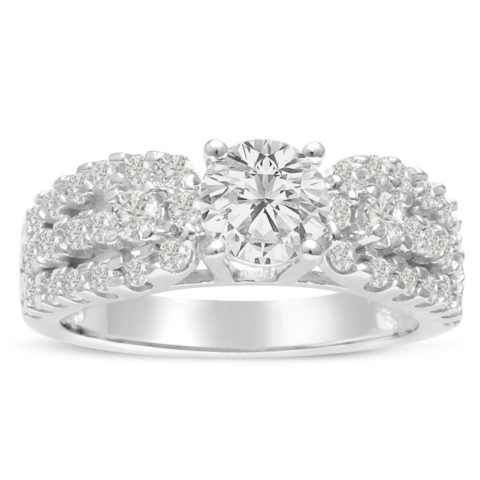 1 1/5 Carat Round Brilliant Diamond Engagement Ring in 14K White