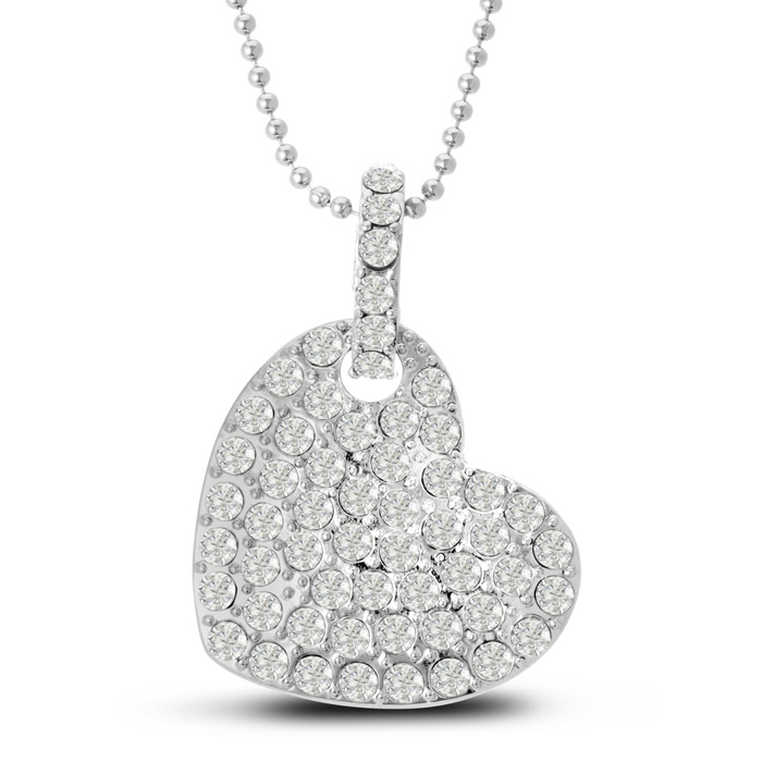Swarovski Floating Heart Necklace, 18 Inches