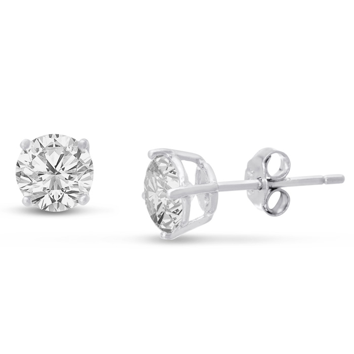 2 Carat Cubic Zirconia Stud Earrings Crafted in Solid Sterling Silver by SuperJeweler