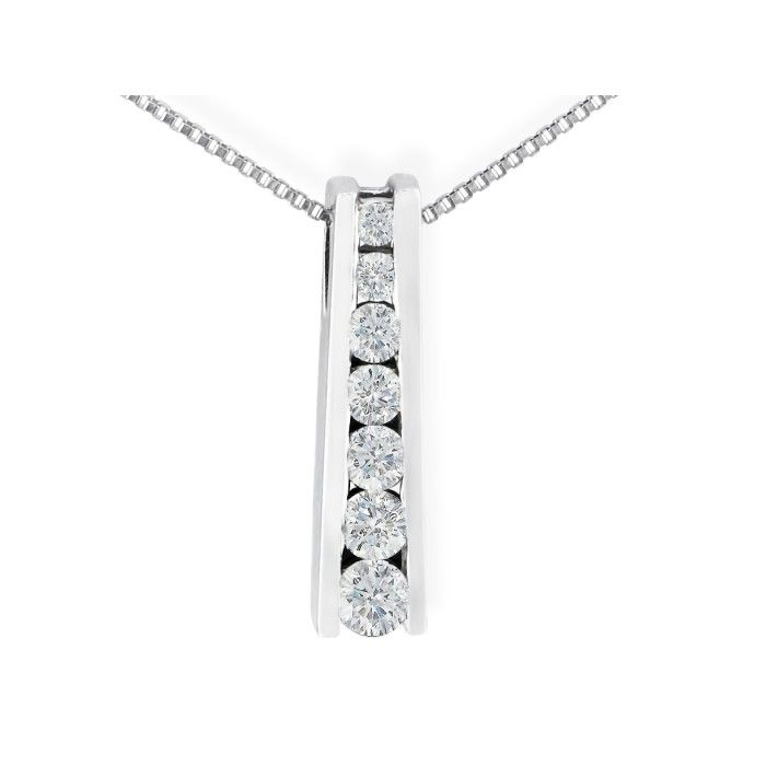 1/4 Carat Ladder Style Journey Diamond Pendant Necklace in 14k White Gold (2 g), I/J, 18 Inch Chain by SuperJeweler