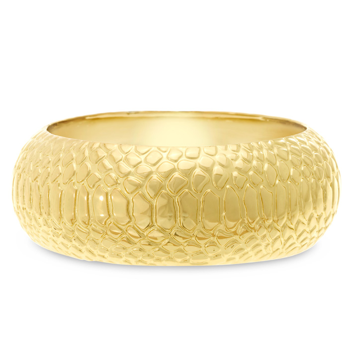 Gold Snakeskin Bangle Bracelet by Passiana