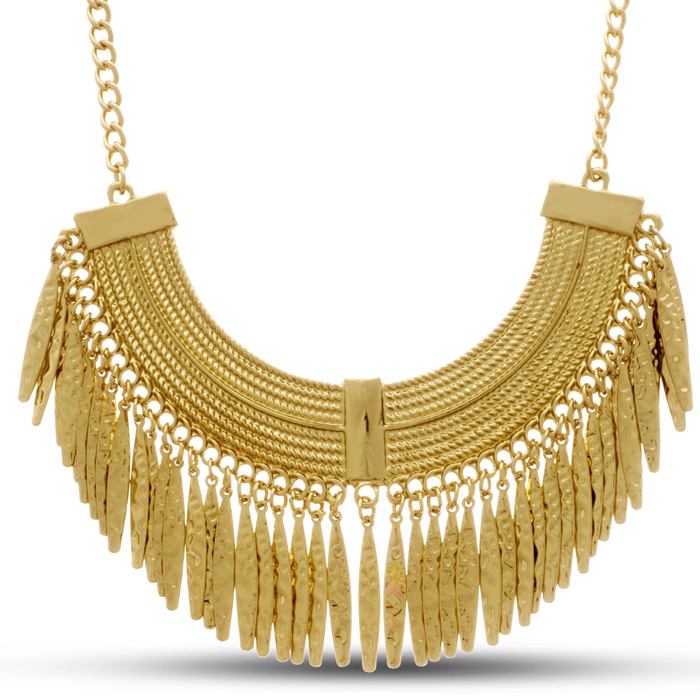 Gold Toned Grecian Fringe Bib Necklace by Passiana
