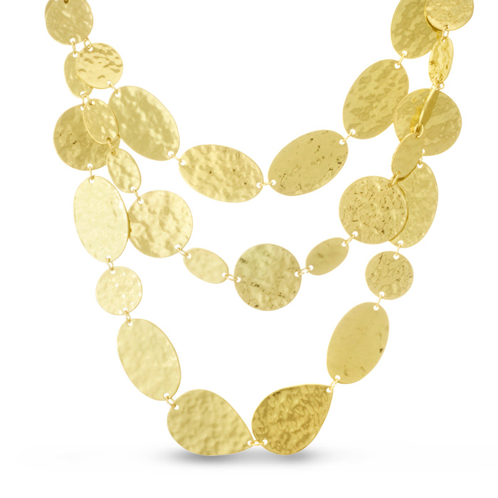 Gold Floating Disc Necklace by Passiana