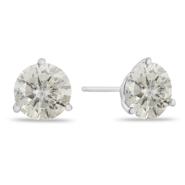 2 Carat Round Cut Diamond Stud Earrings in 14K White Gold (2 g),