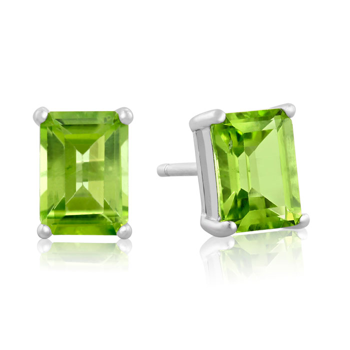2.5 Carat Peridot Earrings in Sterling Silver by SuperJeweler