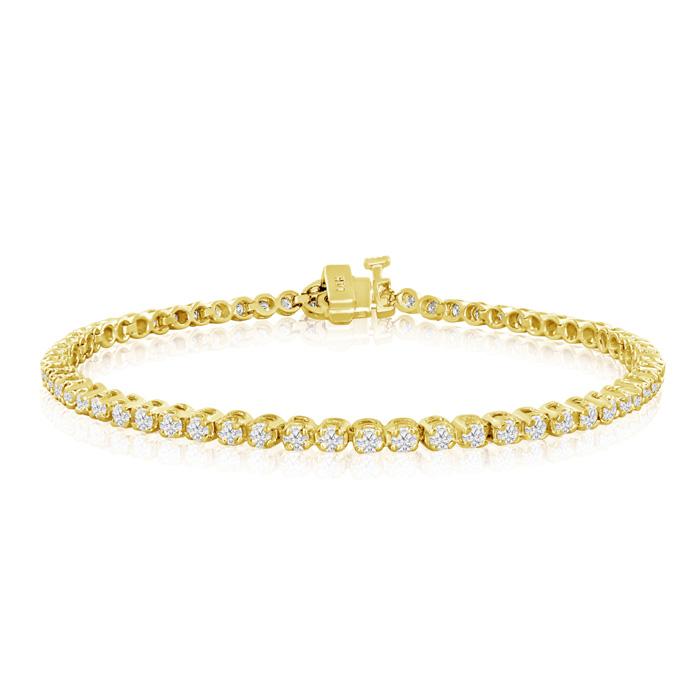 Image of 6 Inch, 1.70ct Round Based Diamond Tennis Bracelet in 14k Yellow Gold