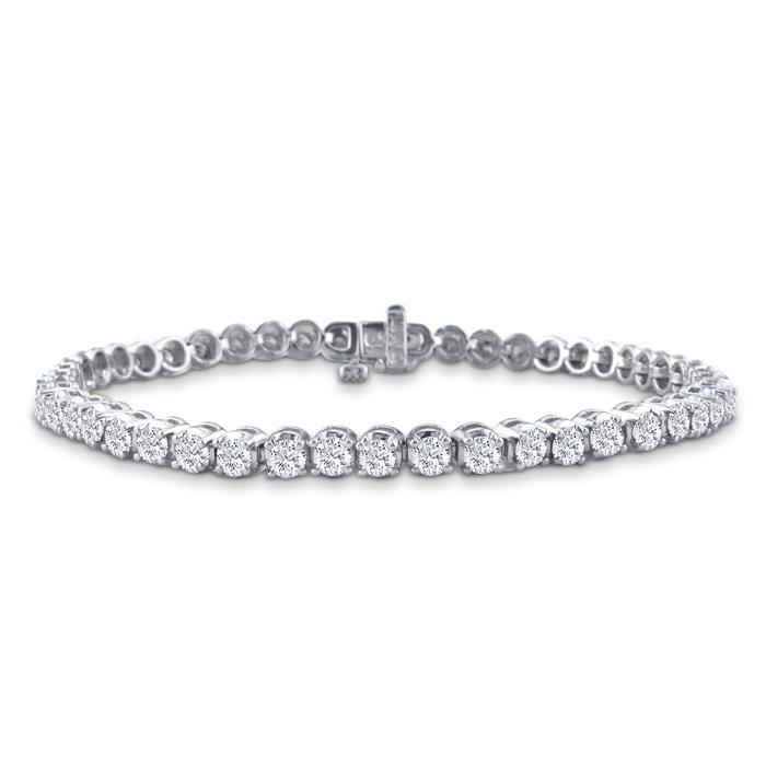 Image of 7.5 Inch, 3.21ct Round Based Diamond Tennis Bracelet in 14k White Gold