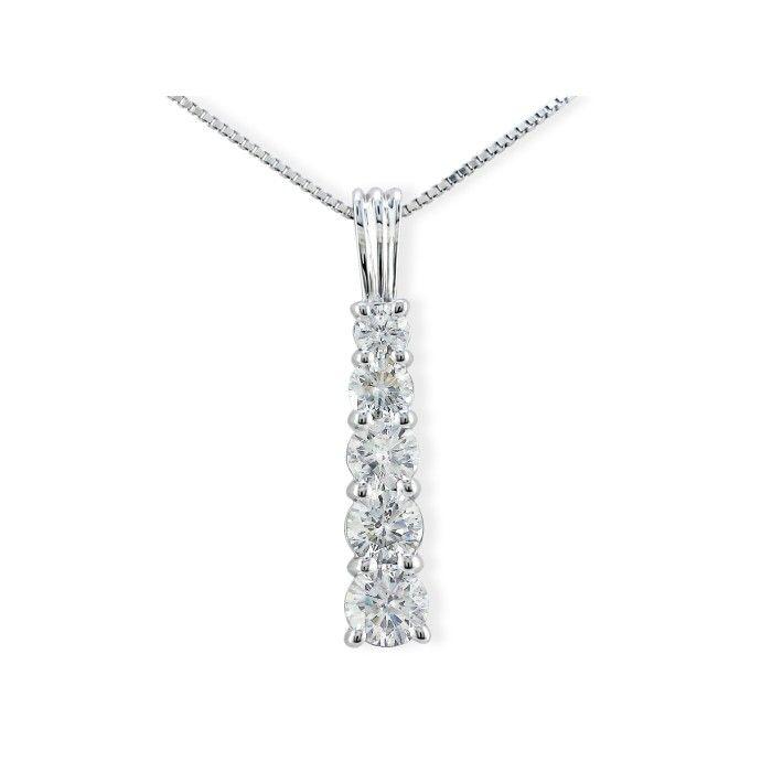 1/4 Carat Stick Style Journey Diamond Pendant Necklace in 14k White Gold (2 g), I/J, 18 Inch Chain by SuperJeweler