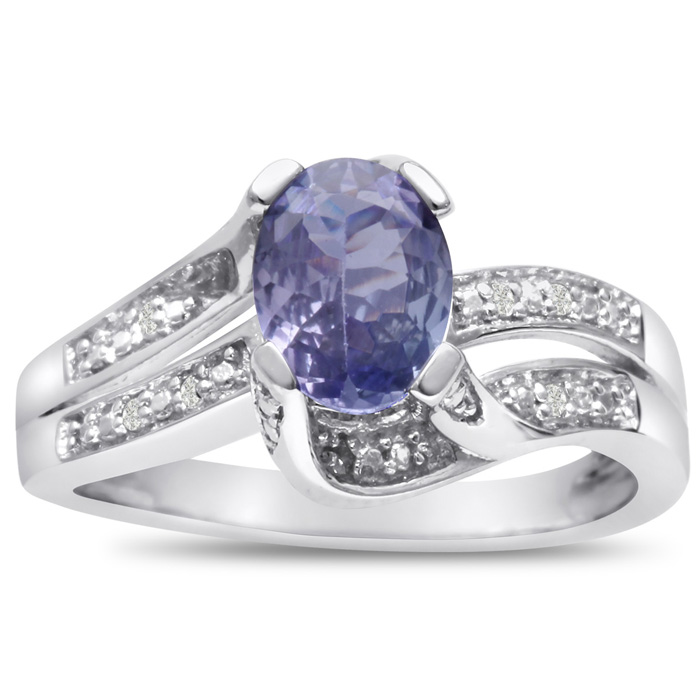 1 Carat Oval Shape Tanzanite & Diamond Ring Crafted in Solid Sterling Silver, I/J, Size 5 by SuperJeweler
