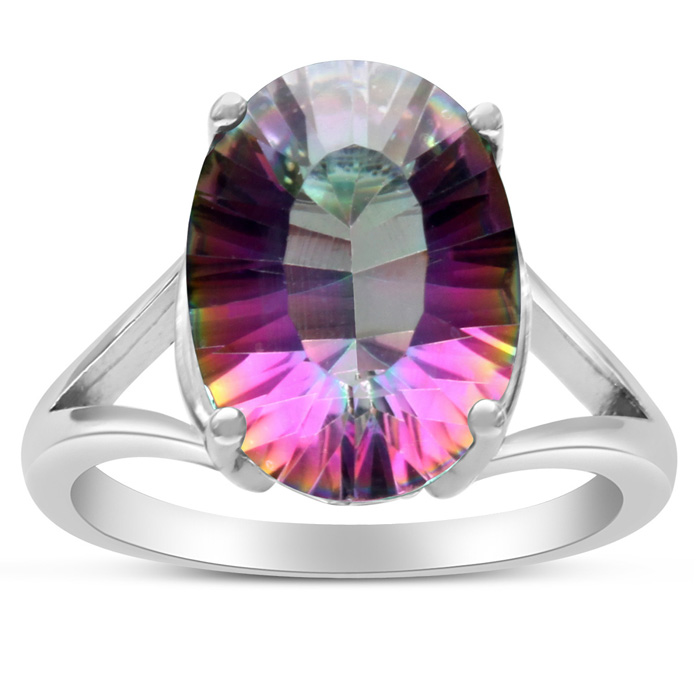 5 1/2 Carat Oval Shape Mystic Topaz Ring Crafted in Solid Sterling Silver by SuperJeweler