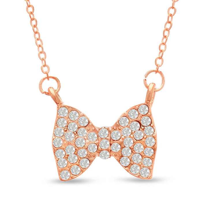 Swarovski Elements Bow Necklace in Rose Gold Tone, 18 Inches by S