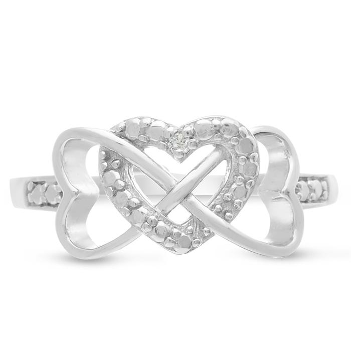 Triple Heart Diamond Infinity Ring in Sterling Silver, K/L by SuperJeweler
