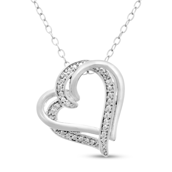 Double Floating Heart Diamond Necklace, 18 Inches,  by SuperJeweler