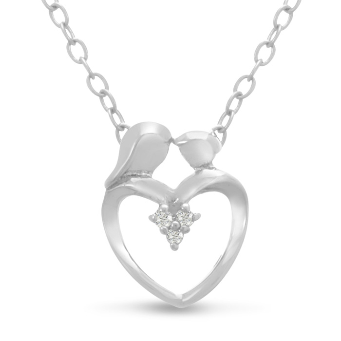 Mommy & Me Diamond Heart Necklace, 18 Inches, J/K in Sterling Silver by SuperJeweler