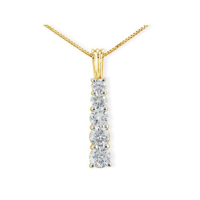1 Carat Stick Style Journey Diamond Pendant Necklace in 14k Yello