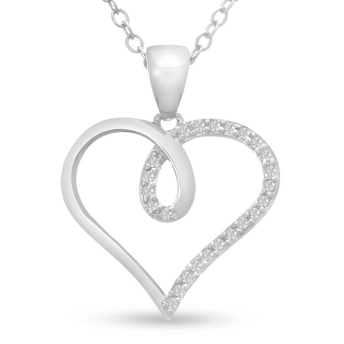 1/10 Carat Swirly Diamond Heart Pendant Necklace, 18 Inches, J/K in Sterling Silver by SuperJeweler