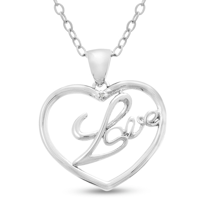 Diamond Love Heart Necklace, 18 Inches, J/K by SuperJeweler