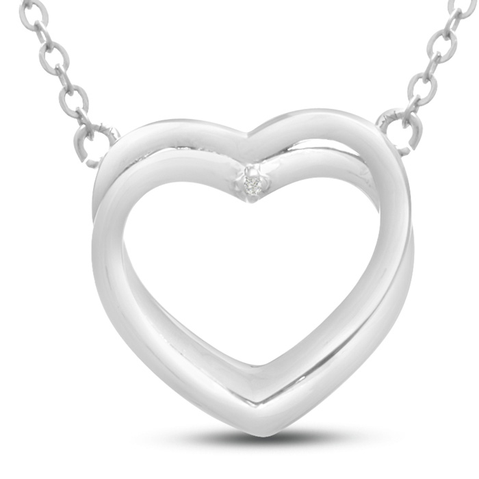 Double Heart Diamond Necklace, 18 Inches,  in Sterling Silver by SuperJeweler