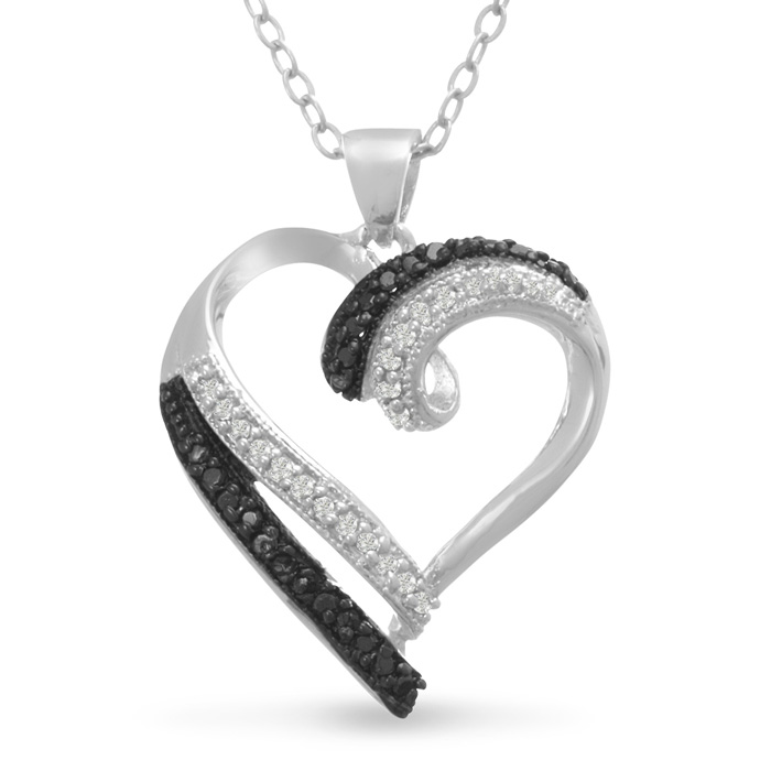 Contemporary 1/4 Carat Black & White Diamond Heart Necklace, 18 Inches, J/K in Sterling Silver by SuperJeweler