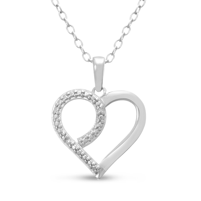 Feminine Diamond Heart Pendant Necklace, 18 Inches, J/K in Sterling Silver by SuperJeweler